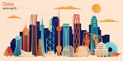 China colorful paper cut style, vector stock illustration. Cityscape with all famous buildings. China skyline composition for design.