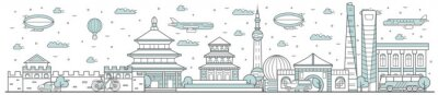 China skyline. Line cityscape with traditional building landmarks horizontal panorama. China skyline with street city sights and Great Wall of China. City constructions outline, architecture concept