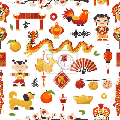 China-Vektorikonen des neuen Jahres stellten dekorativen Feiertag ein. Chinesischer traditioneller Symbol- und Gegenstanddrachen, Hund, Feuerzeug und berühmter orientalischer Kultur chinesischer Feier