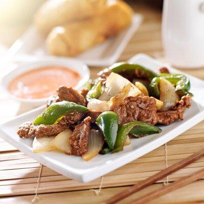Sticker Chinese food - Pfeffer Rindfleisch im Restaurant