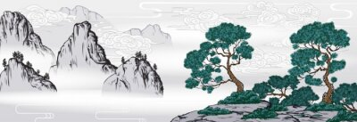Sticker Chinese painting classic landscape