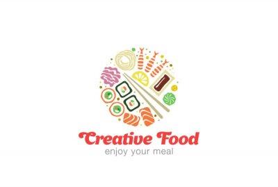 Sticker Chinesisch Japanisch Sushi Sashimi Meeresfrüchte-Logo-Design.