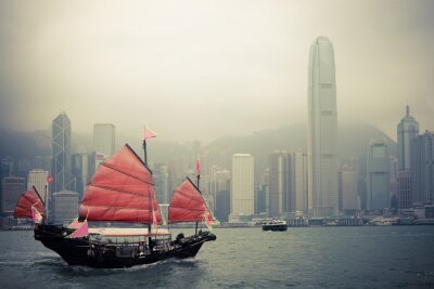 Sticker chinesische Art Segelboot in Hong Kong