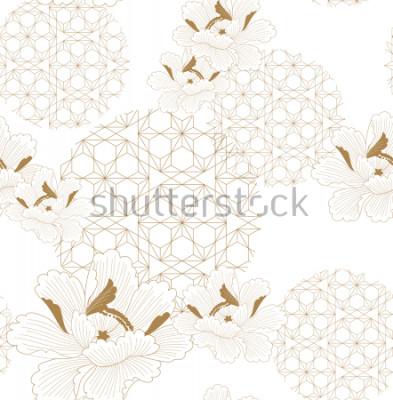 Sticker Chinesischer Muster nahtloser Vektor. Gold floral mit japanischem geometrischem Elementhintergrund für Gewebe, Packpapier, Hintergrund, Schablone, Deckblattdesign.