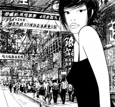 chinesisches Mädchen in Hong Kong