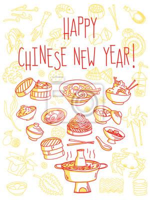 Chinesisches Neujahrsfeier Abendessen. Traditionelle Lebensmittel-Themen-Grußkarte