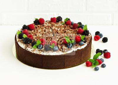 Chocolate cake with fresh berries.