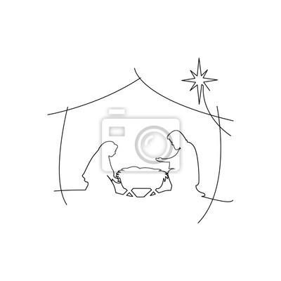 christliche weihnachtskrippe des babys jesus in der krippe mit • wandsticker jesus christus