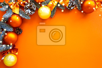 Sticker Christmas composition. Background orange colors with decorations. Christmas, winter, new year concept. Flat lay, top view, copy space .