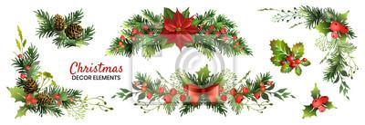 Sticker Christmas decor elements set for your design. Garland fective set. Vector illustration.