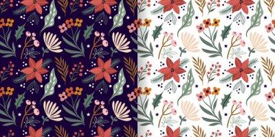 Sticker Christmas floral seamless patterns set, seasonal flowers and plants,  elegant winter design