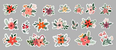 Sticker Christmas floral stickers big collection, different bouquets, seasonal flowers and plants arrangements