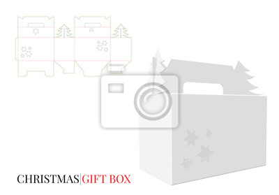 Christmas Gift Box with Handle,Vector with die cut / laser cut layers. Gift Box mock up white, blank, clear, isolated on white background with perspective view. . 3D presentation