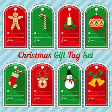 Christmas Gift Tag Design Set with Characters and Traditional Symbols