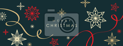 Sticker Christmas greetings banner with swirl ribbons and stars on black colour background