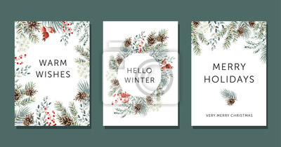 Sticker Christmas nature design greeting cards template, circle frame, text Hello Winter, Warm Wishes, Merry Holidays, white background. Green pine, fir twigs, cones, red berries. Vector xmas illustration