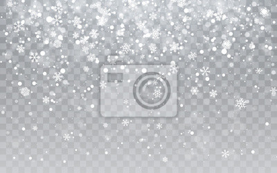 Sticker Christmas snow. Falling snowflakes on transparent background. Snowfall. Vector illustration