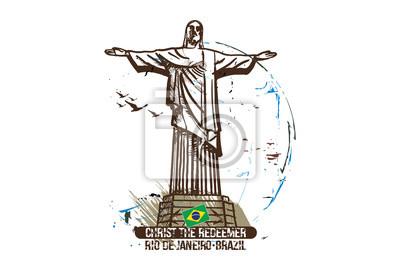 Christus der Erlöser. Rio De Janeiro, Brasilien-Stadtdesign. Hand gezeichnete Illustration.