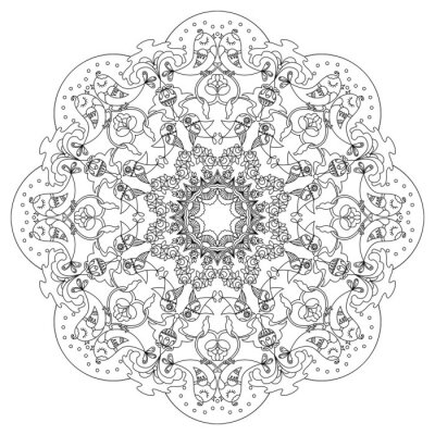 Sticker Circular Muster mit Vögeln und Blumen in Doodle-Stil