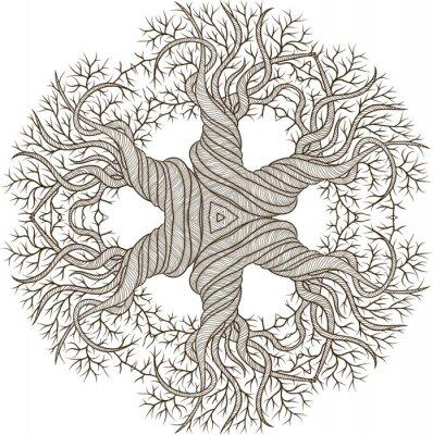 Sticker Circular Ornament aus abstrakten Baum mit Curling Barrel.