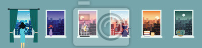 Sticker City landscape window view set at various times of the day flat vector illustration.