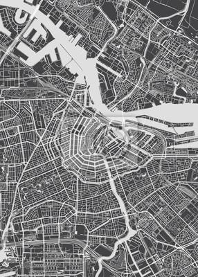 City map Amsterdam, monochrome detailed plan, vector illustration
