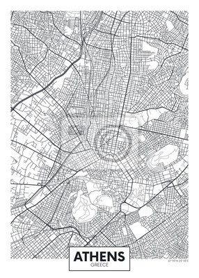 City map Athens, travel vector poster design