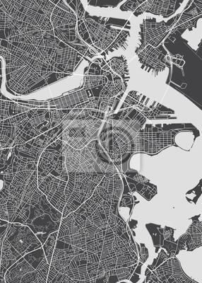 City map Boston, monochrome detailed plan, vector illustration