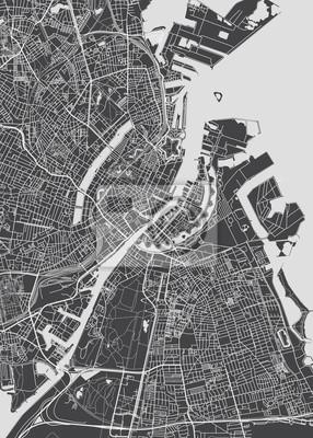 City map Copenhagen, monochrome detailed plan, vector illustration