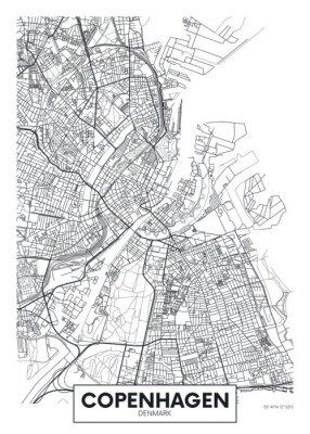 City map Copenhagen, travel vector poster design