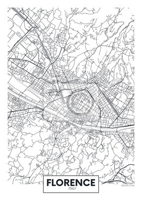 City map Florence, travel vector poster design
