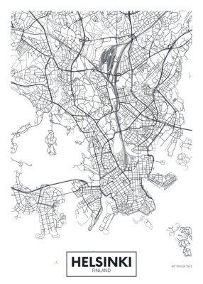 City map Helsinki, travel vector poster design