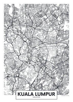 City map Kuala Lumpur, travel vector poster design