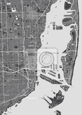 City map Miami, monochrome detailed plan, vector illustration