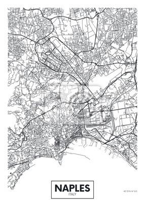 City map Naples, travel vector poster design