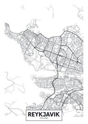 City map Reykjavik, travel vector poster design