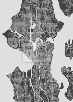 City map Seattle, monochrome detailed plan, vector illustration