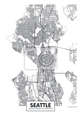 City map Seattle, travel vector poster design