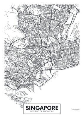 City map Singapore, travel vector poster design