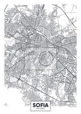 City map Sofia, travel vector poster design
