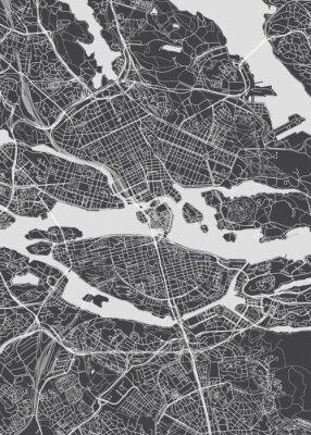 City map Stockholm, monochrome detailed plan, vector illustration