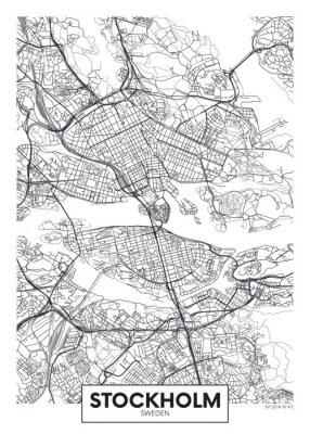 City map Stockholm, travel vector poster design