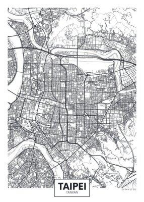 City map Taipei, travel vector poster design