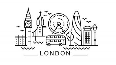 city of London in outline style on white