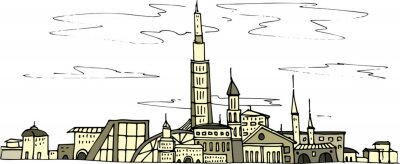 city outlines hand-drawn landscape view of the circuit card letter card