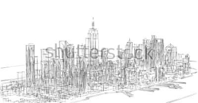 Sticker city, panorama, 3d illustration