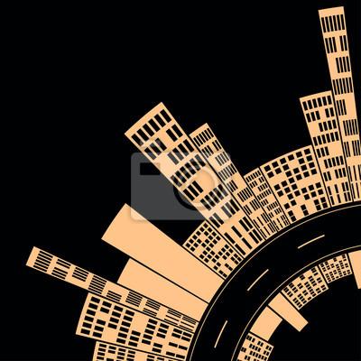 Sticker City Street schwarz und Creme Nacht, eine stilisierte Darstellung einer Innenstadt-Kurve, mit einer Skyline der Stadt auf jeder Seite der Straße