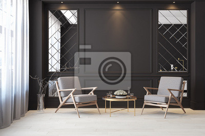 Sticker Classic black modern interior empty room with lounge armchairs, table and mirrors.