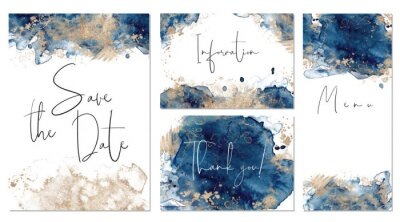 Sticker Classic blue and gold wedding set with hand drawn watercolor background. Includes Invintation, menu, information and thank you cards templates