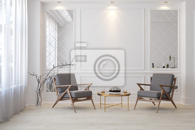 Sticker Classic white modern interior empty room with lounge armchairs, table and mirrors.